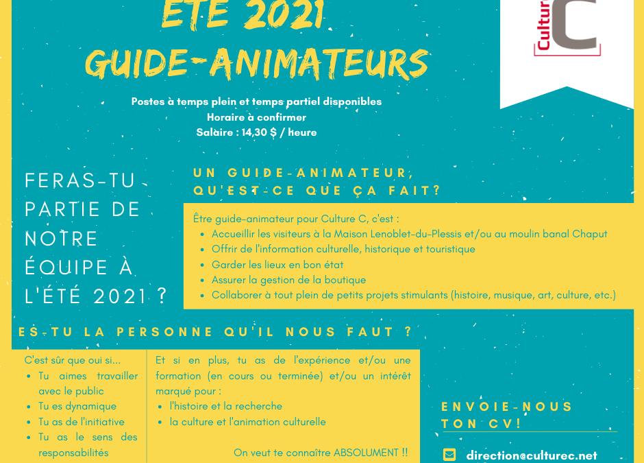 Offre d'emploi – Été 2021 : Guide-animateur